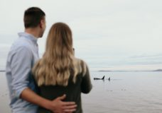 Engagement photoshoot for Victoria couple photobombed by orcas