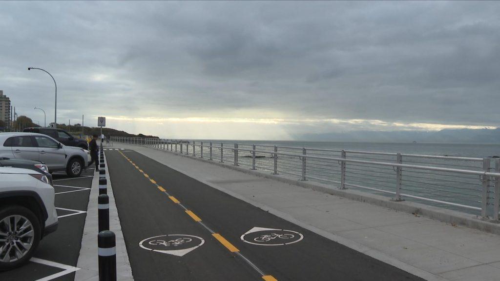 The new bike lane along Dallas Road.