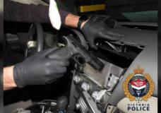 VicPD arrest three, seize drugs and find loaded handgun hidden in vehicle's centre console