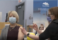 Dr. Henry, healthcare workers on Vancouver Island receive new COVID-19 vaccine