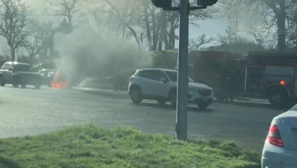 Authorities respond to car fire in Saanich along Blanshard Street