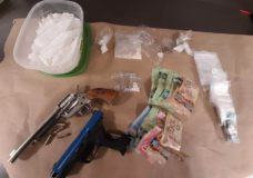 One arrested after meth, fentanyl and replica firearms seized in Victoria