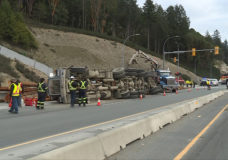 Logging truck crashes on Trans-Canada Highway in Langford