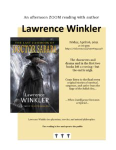 ZOOM Author Reading—Lawrence Winkler—The Last Casebook of Doctor Sababa @ Vancouver Island Regional Library, Nanaimo North