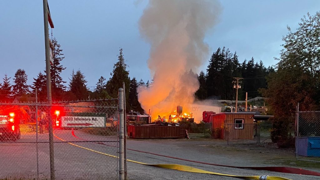 A new distillery in Sooke has burned to the ground following an early morning fire on Tuesday.