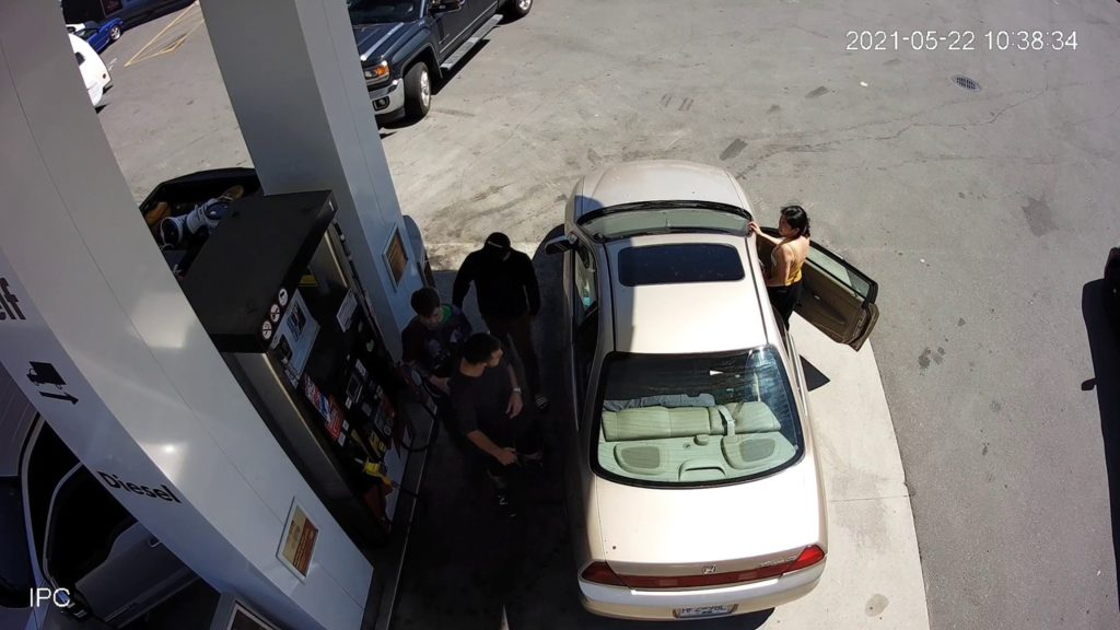 Police seek suspects who spat in man's face because he was taking too long to pump gas
