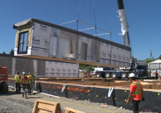 Crews begin installing modular supportive housing at Nanaimo construction site