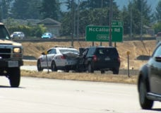 Crash involving police vehicle blocks northbound lanes on Trans-Canada Highway in Langford