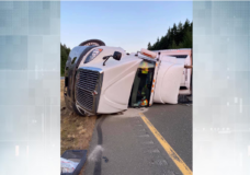 Semi-truck rollover on Highway 19 delays traffic for several hours
