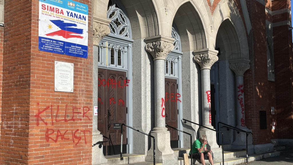 Graffiti spray-painted on multiple buildings throughout Greater Victoria, police investigating