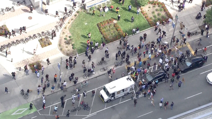 'It's terrifying': Police on hand as pandemic protesters picket hospitals across country