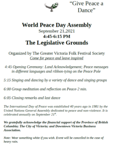 GIVE PEACE A DANCE--World Peace Day Assembly @ The Legislative Grounds