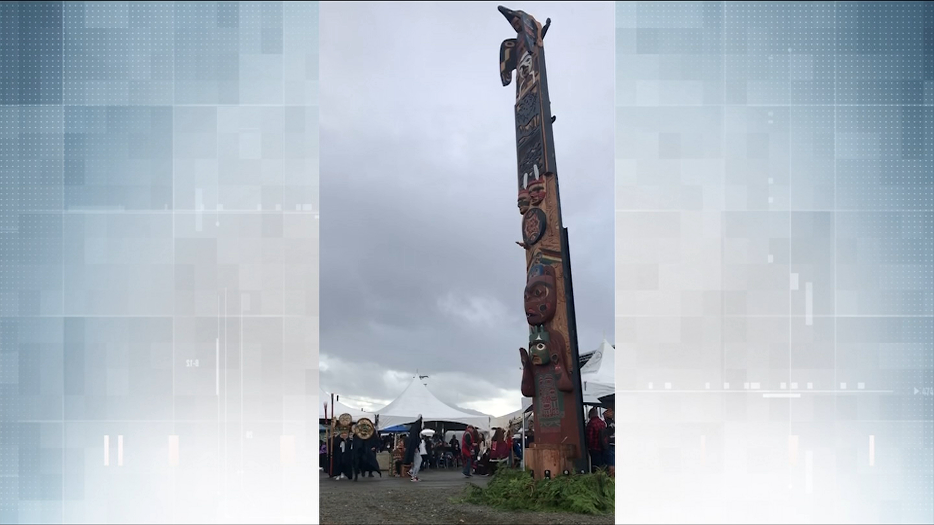 Totem pole installed on Nuu-chah-nulth territory in Port Alberni